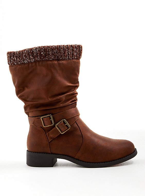 Brown Faux Suede Sweater-Trim Boot (WW), BROWN, hi-res