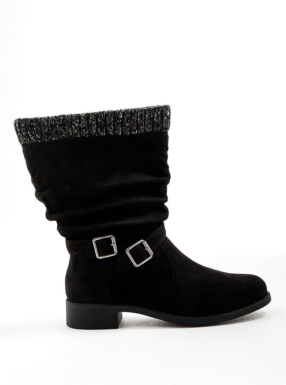 Sweater-Trim Boot - Black Faux Suede (WW), BLACK, hi-res