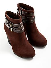 Plus Size Buckle Heel Bootie - Brown Faux Suede  (WW), BROWN, alternate