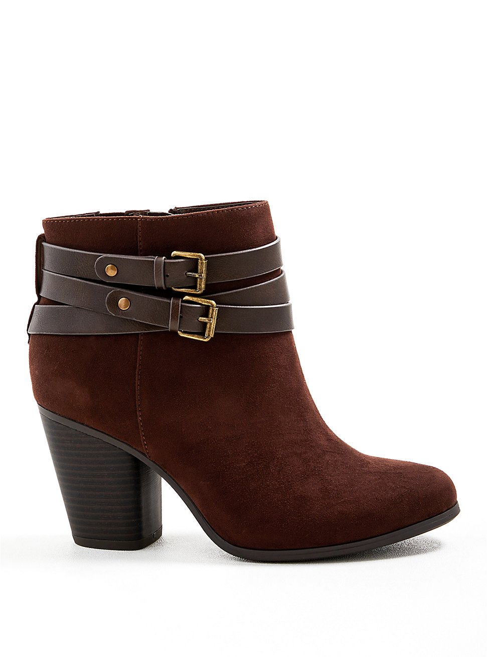 Plus Size Buckle Heel Bootie - Brown Faux Suede  (WW), BROWN, hi-res