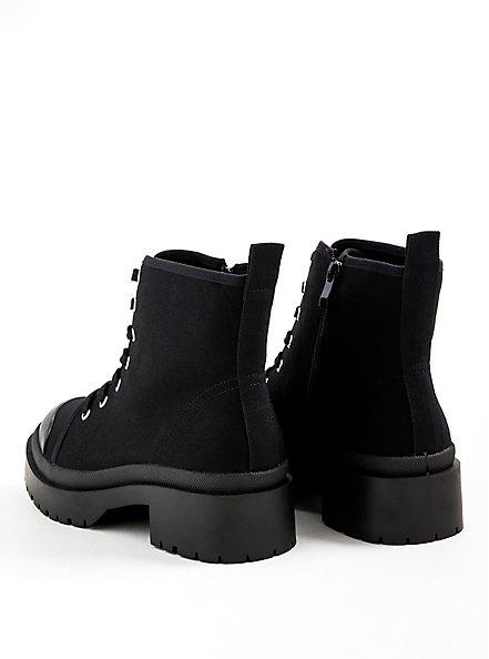 Plus Size Black Canvas Lug Bootie (WW), BLACK, alternate