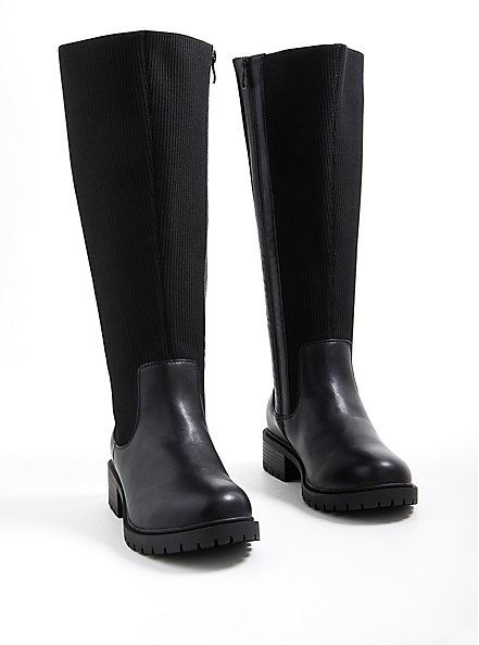 Stretch Ribbed Knee Boot - Black Faux Leather (WW), BLACK, alternate