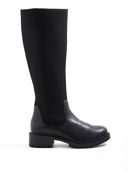 Stretch Ribbed Knee Boot - Black Faux Leather (WW), BLACK, hi-res