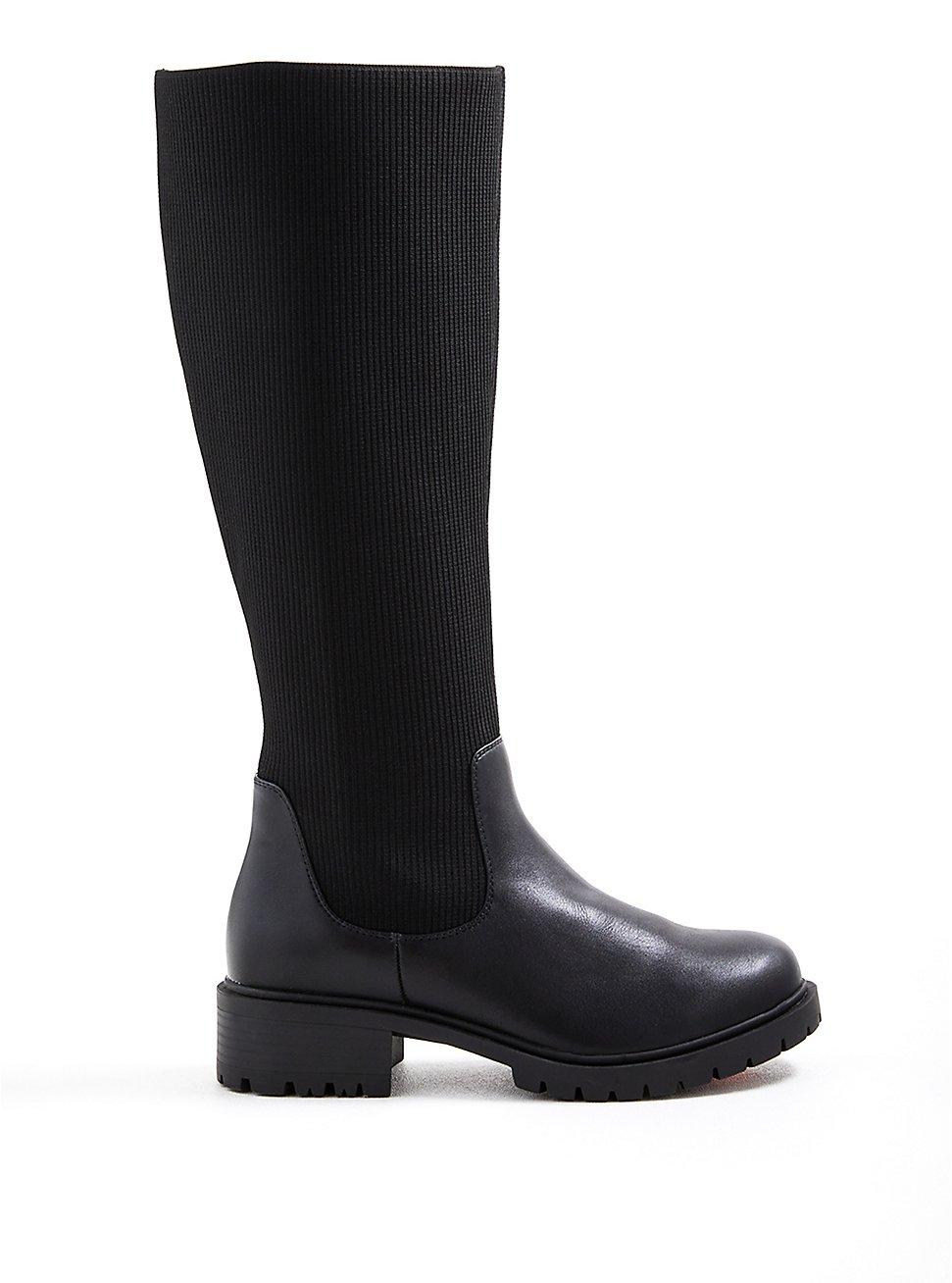 Plus Size Stretch Ribbed Knee Boot - Black Faux Leather (WW), BLACK, hi-res