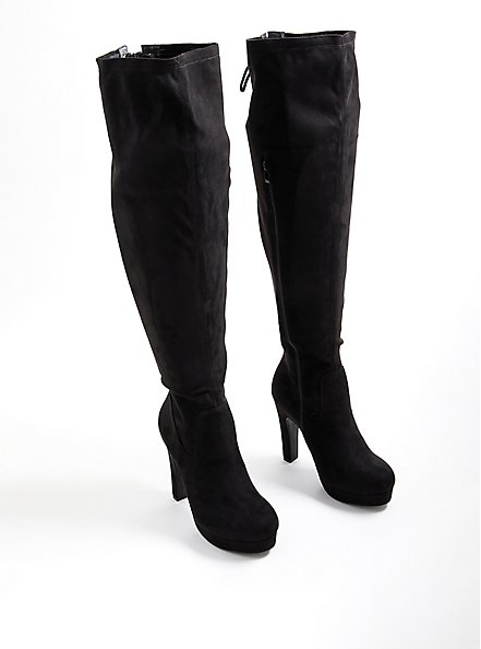 Over-The-Knee Platform Boot - Stretch Faux Suede Black, BLACK, alternate