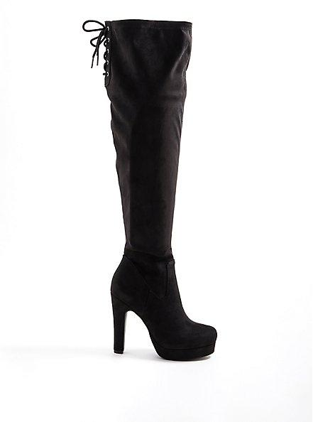 Over-The-Knee Platform Boot - Stretch Faux Suede Black, BLACK, hi-res