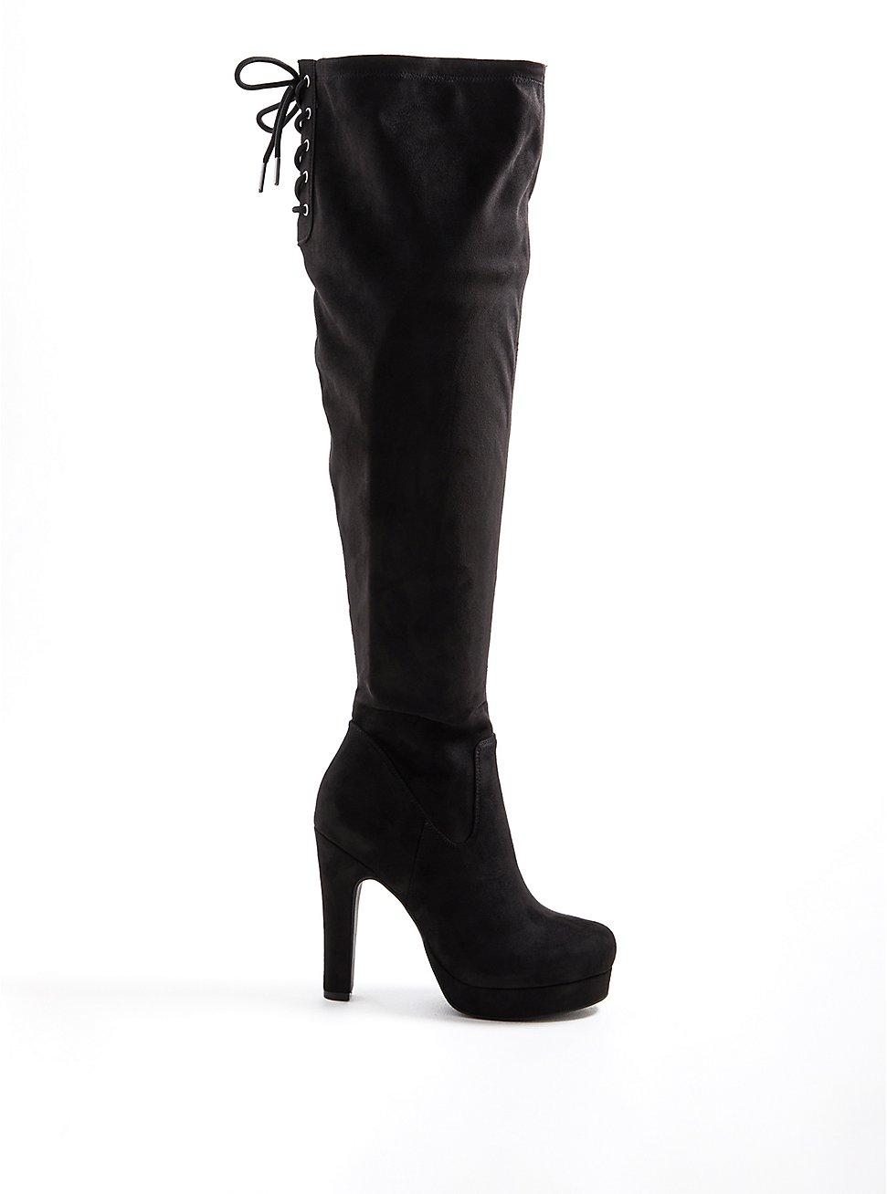 Plus Size Over-The-Knee Platform Boot - Stretch Faux Suede Black, BLACK, hi-res