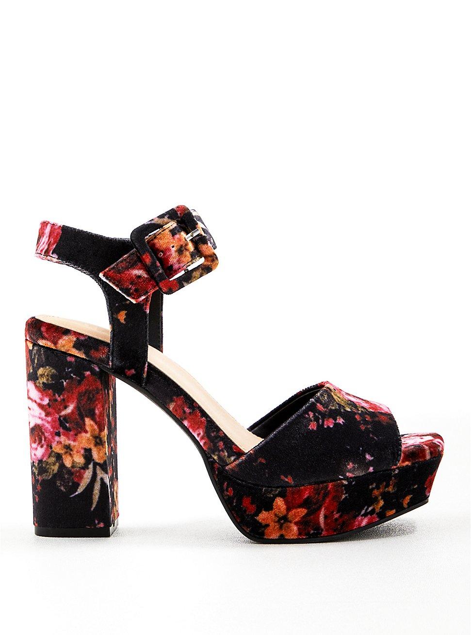 Floral Velvet Platform Heel (WW), BLACK, hi-res