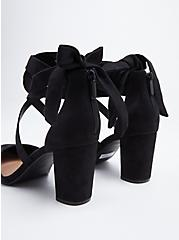 Black Faux Suede Strappy Ankle-Tie Pump (WW), BLACK, alternate