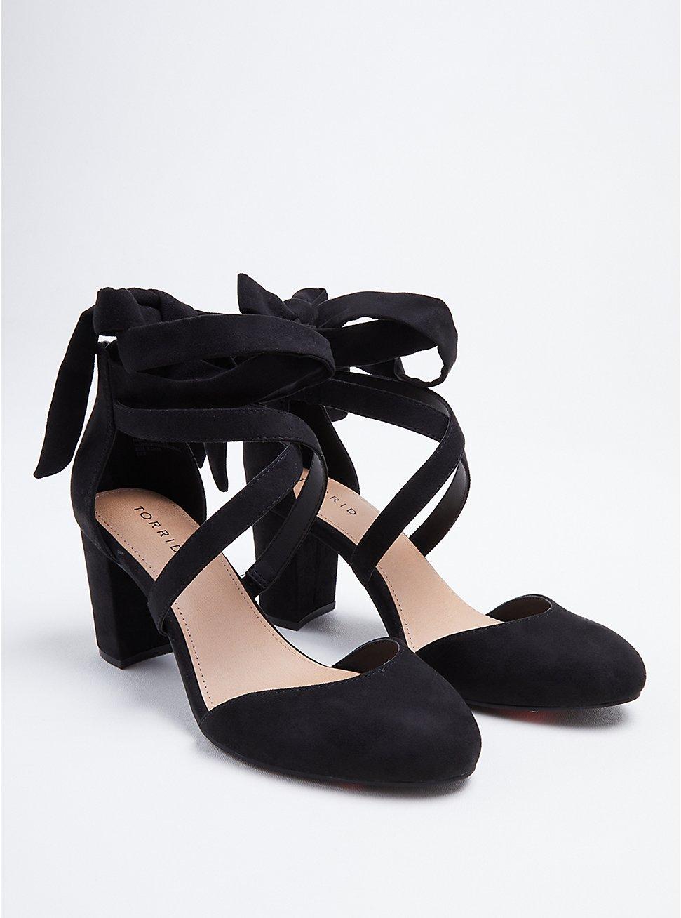 Black Faux Suede Strappy Ankle-Tie Pump (WW), BLACK, hi-res