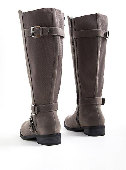 Knee Boot - Dark Grey Faux Oiled Suede (WW), GREY, alternate