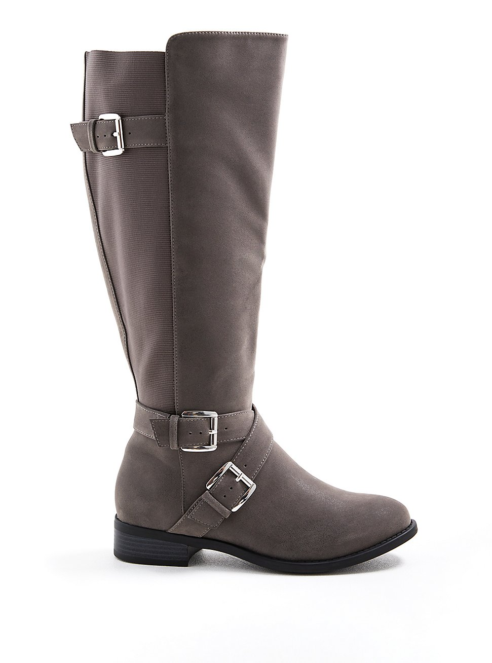 Knee Boot - Dark Grey Faux Oiled Suede (WW), GREY, hi-res