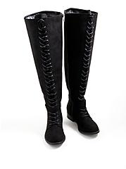 Double Buckle Over The Knee Boot - Faux Suede Black (WW), BLACK, alternate