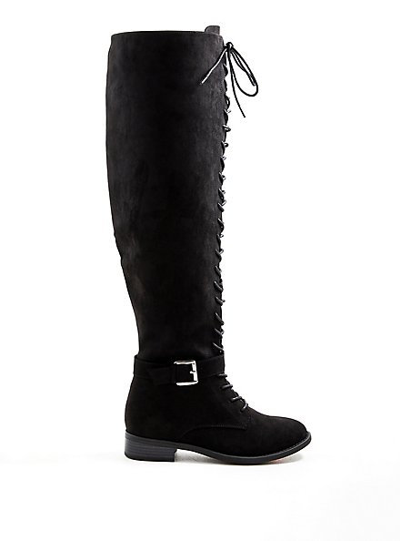 Black Faux Suede Double Buckle Over The Knee Boot (WW), BLACK, alternate