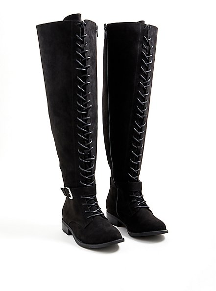 Black Faux Suede Double Buckle Over The Knee Boot (WW), BLACK, hi-res