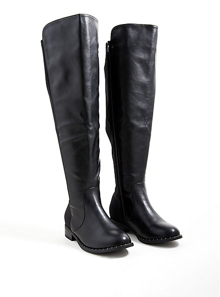 Black Faux Leather Studded Welt Over The Knee Boot (WW), BLACK, alternate