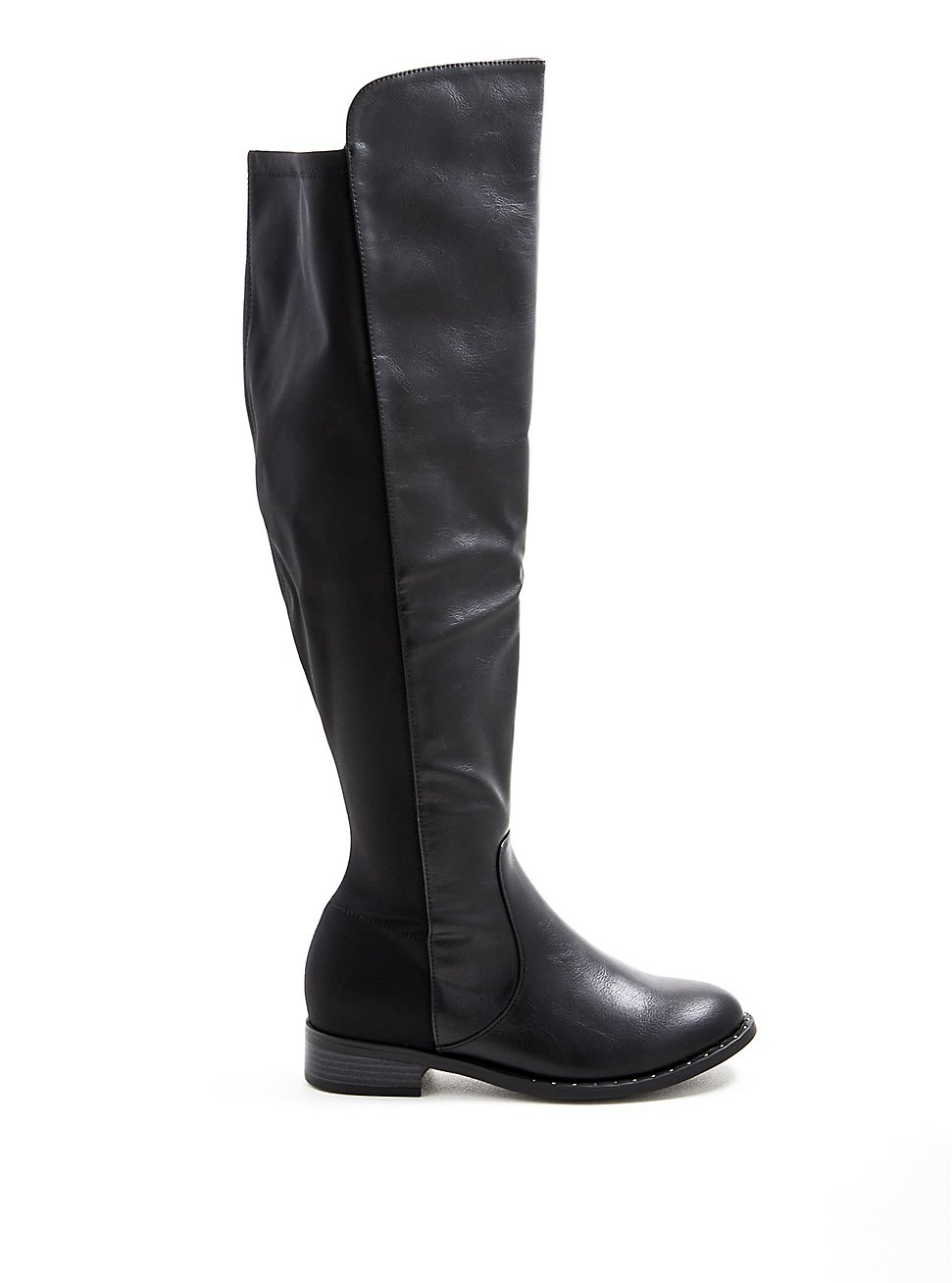 Black Faux Leather Studded Welt Over The Knee Boot (WW), BLACK, hi-res