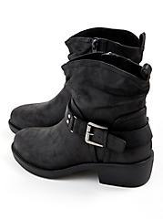 Plus Size Slouchy Moto Boot - Faux Leather Black, BLACK, alternate