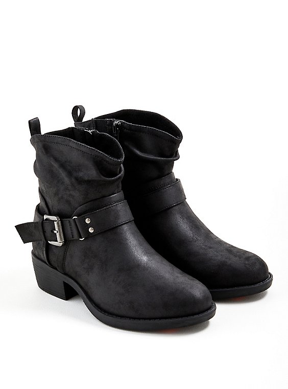 Slouchy Moto Boot - Faux Leather Black, BLACK, hi-res