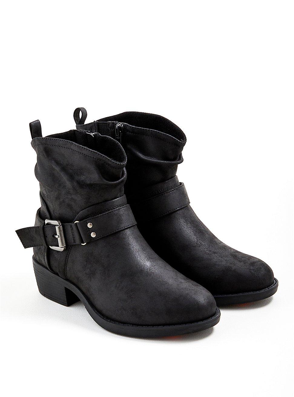 Plus Size Slouchy Moto Boot - Faux Leather Black, BLACK, hi-res