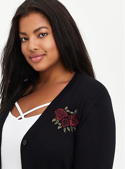 Boyfriend Cardigan Sweater - Skull Rose Black, DEEP BLACK, alternate