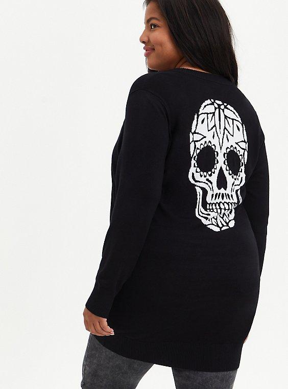 Boyfriend Cardigan Sweater - Skull Rose Black, DEEP BLACK, hi-res