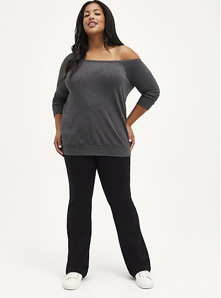 Plus Size Off Shoulder Sweatshirt - Lightweight French Terry Charcoal, CHARCOAL  GREY, alternate
