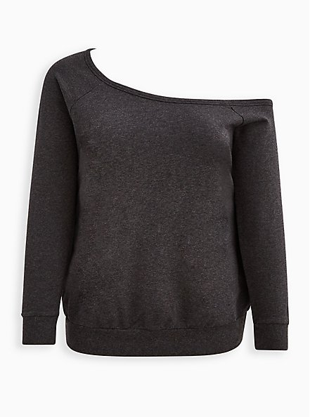 Plus Size Off Shoulder Sweatshirt - Lightweight French Terry Charcoal, CHARCOAL  GREY, hi-res