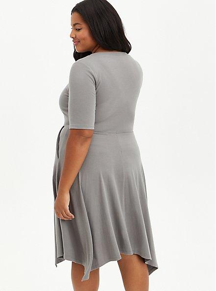 Grey Ribbed Handkerchief Mini Dress, GREY, alternate