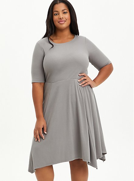 Grey Ribbed Handkerchief Mini Dress, GREY, hi-res