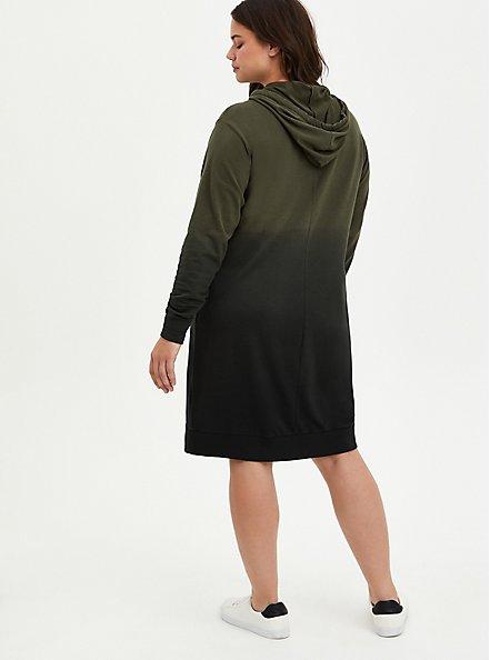 Hoodie Dress - French Terry Olive Dip Dye, , alternate