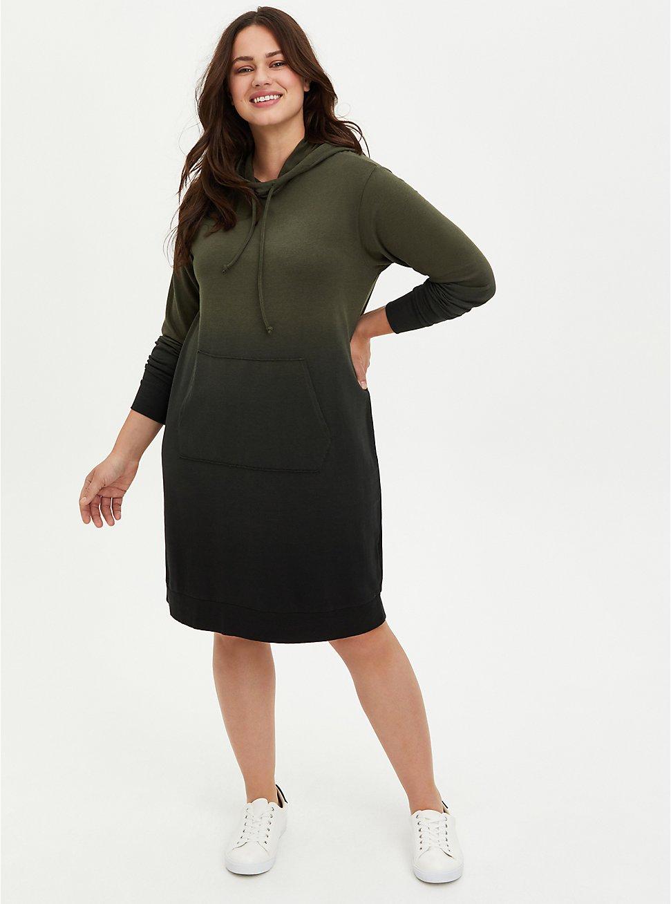 Hoodie Dress - French Terry Olive Dip Dye, , hi-res