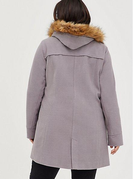 Toggle Coat with Fur Trim - Brushed Ponte Grey, GREY, alternate