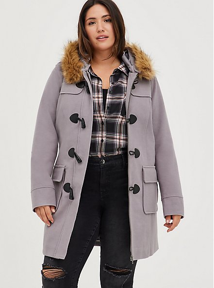 Toggle Coat with Fur Trim - Brushed Ponte Grey, GREY, hi-res