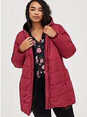Fit & Flare Puffer Jacket - Deep Red with Black Trim, RED, alternate