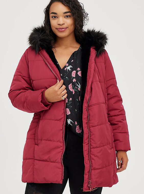 Fit & Flare Puffer Jacket - Deep Red with Black Trim, RED, hi-res