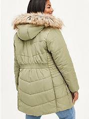 Fit & Flare Puffer Jacket - Twill Olive  , OLIVE, alternate