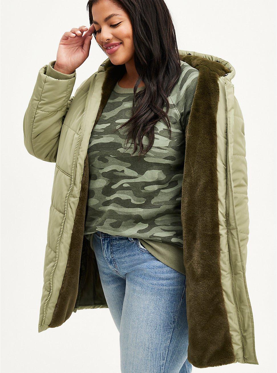 Fit & Flare Puffer Jacket - Twill Olive  , OLIVE, hi-res