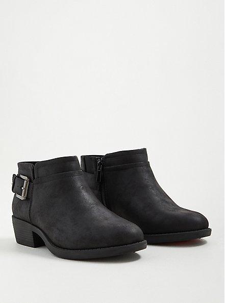 Side Buckle Bootie - Faux Leather Black (WW), BLACK, alternate