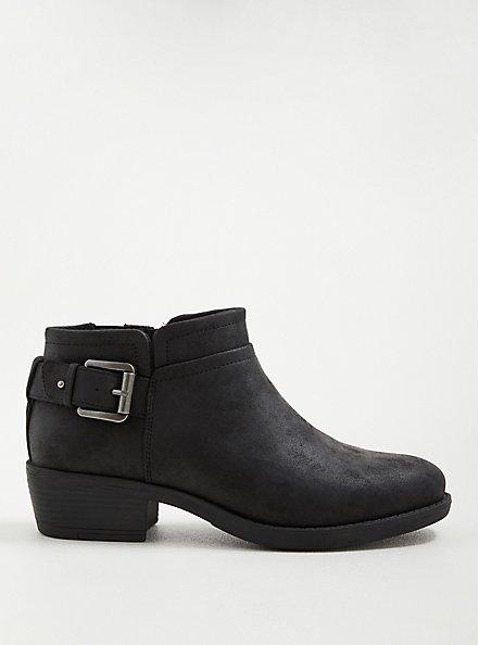 Side Buckle Bootie - Faux Leather Black (WW), BLACK, hi-res