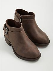 Side Buckle Bootie - Faux Leather Taupe (WW), TAUPE, alternate
