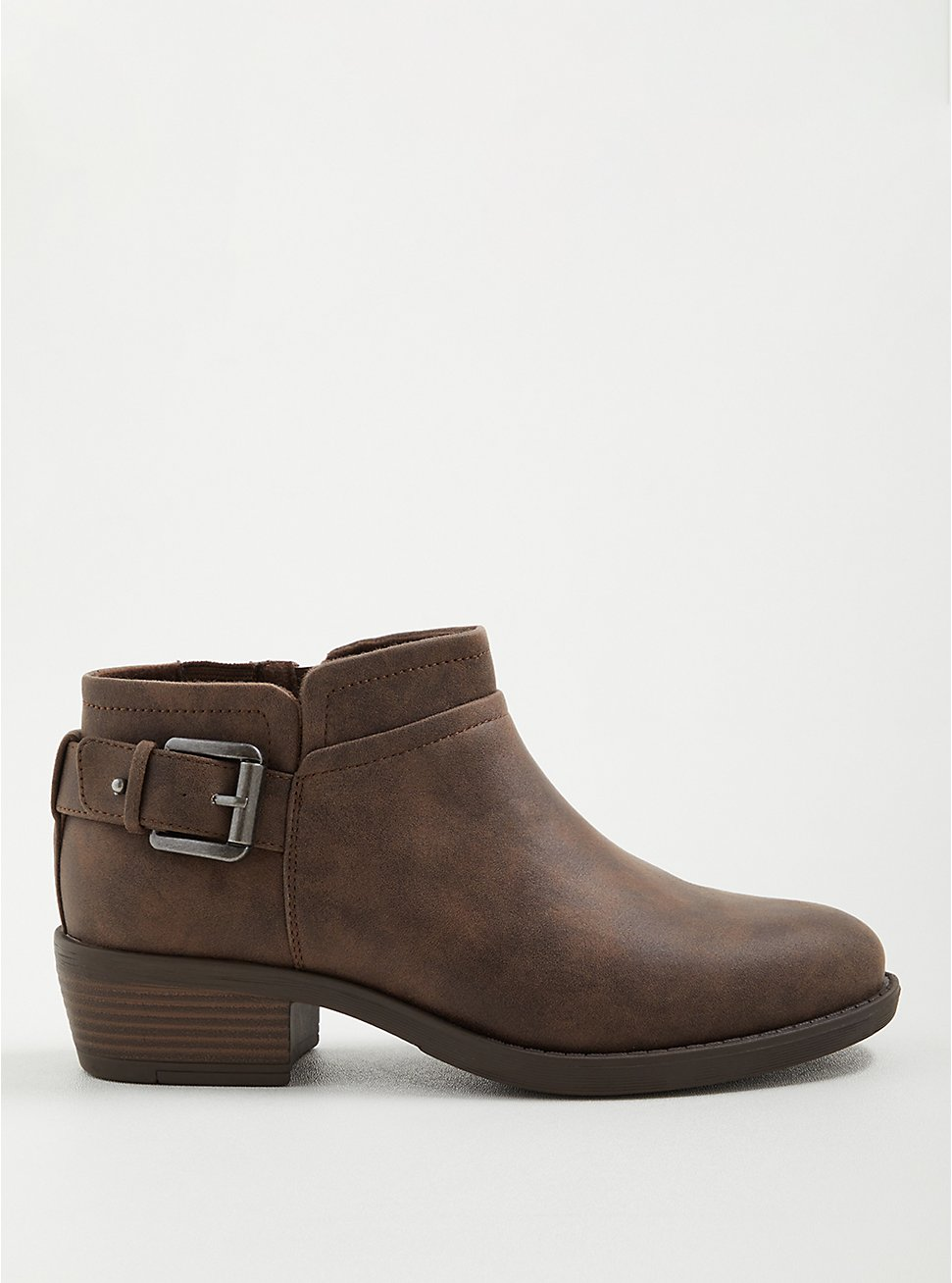 Side Buckle Bootie - Faux Leather Taupe (WW), TAUPE, hi-res