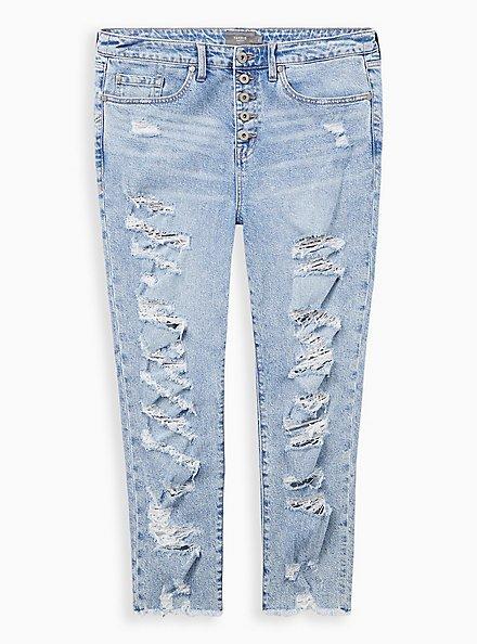 High Rise Straight Jean - Classic Denim Medium Wash, ROAD RUNNER, hi-res