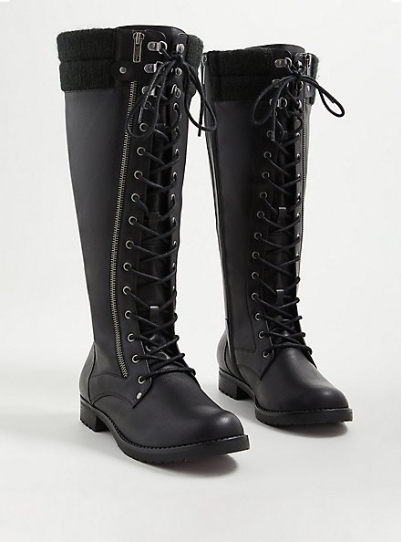 Plus Size Knee Lace-up Sweater Boot - Pebbled Faux Leather (WW), BLACK, alternate