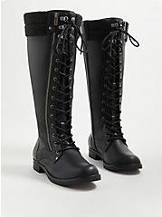 Knee Lace-up Sweater Boot - Pebbled Faux Leather (WW), BLACK, alternate