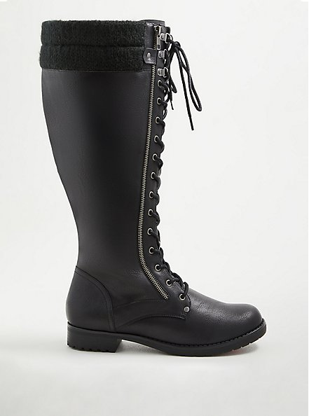 Plus Size Knee Lace-up Sweater Boot - Pebbled Faux Leather (WW), BLACK, hi-res