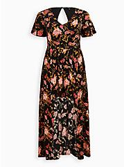 Black Floral Challis Walk Through Maxi Dress, FLORAL - BLACK, hi-res