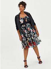 Bustier Skater Midi Dress - Lace Floral Black, FLORAL - BLACK, alternate