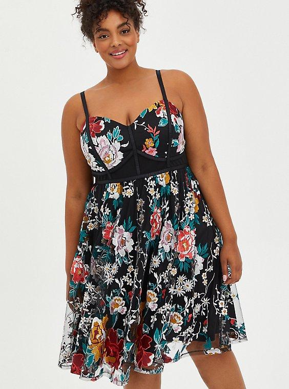 Bustier Skater Midi Dress - Lace Floral Black, FLORAL - BLACK, hi-res