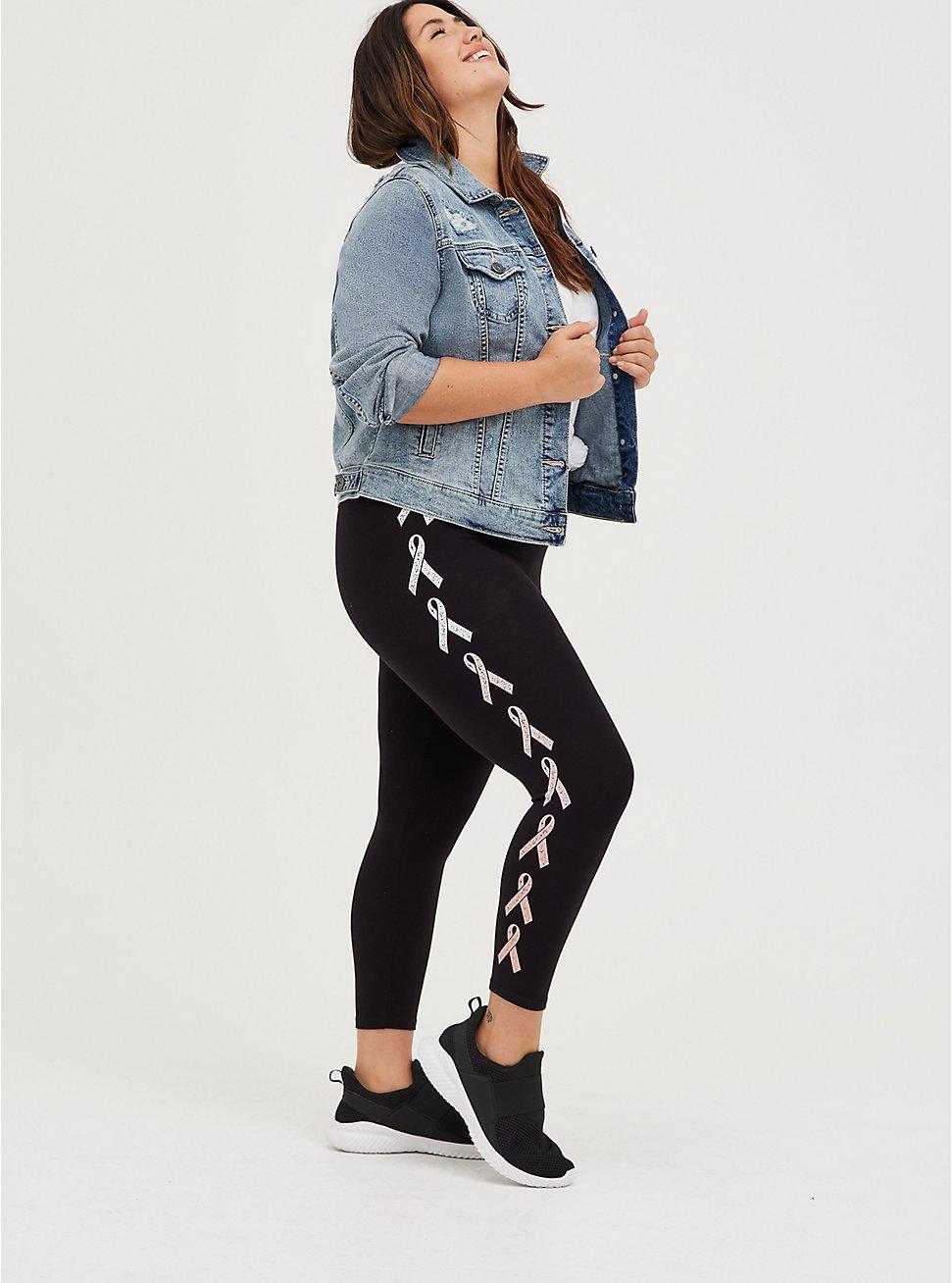 Breast Cancer Awareness Premium Legging - Gradient Ribbon Side Black, BLACK, hi-res